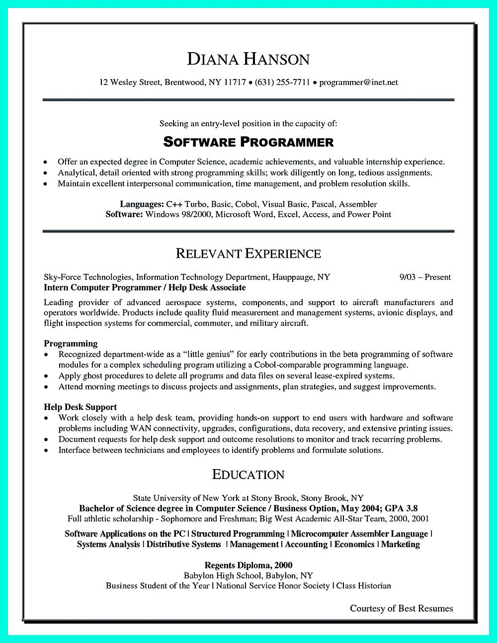 resume summary examples computer science