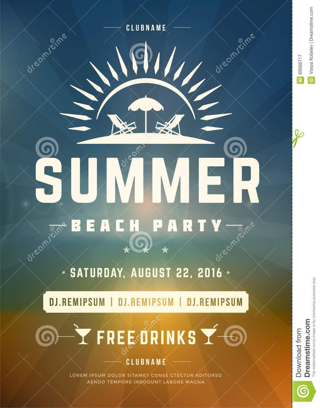 Retro- Sommerferien-Strandfest-Plakat-oder Flieger-Design-Schablone ...