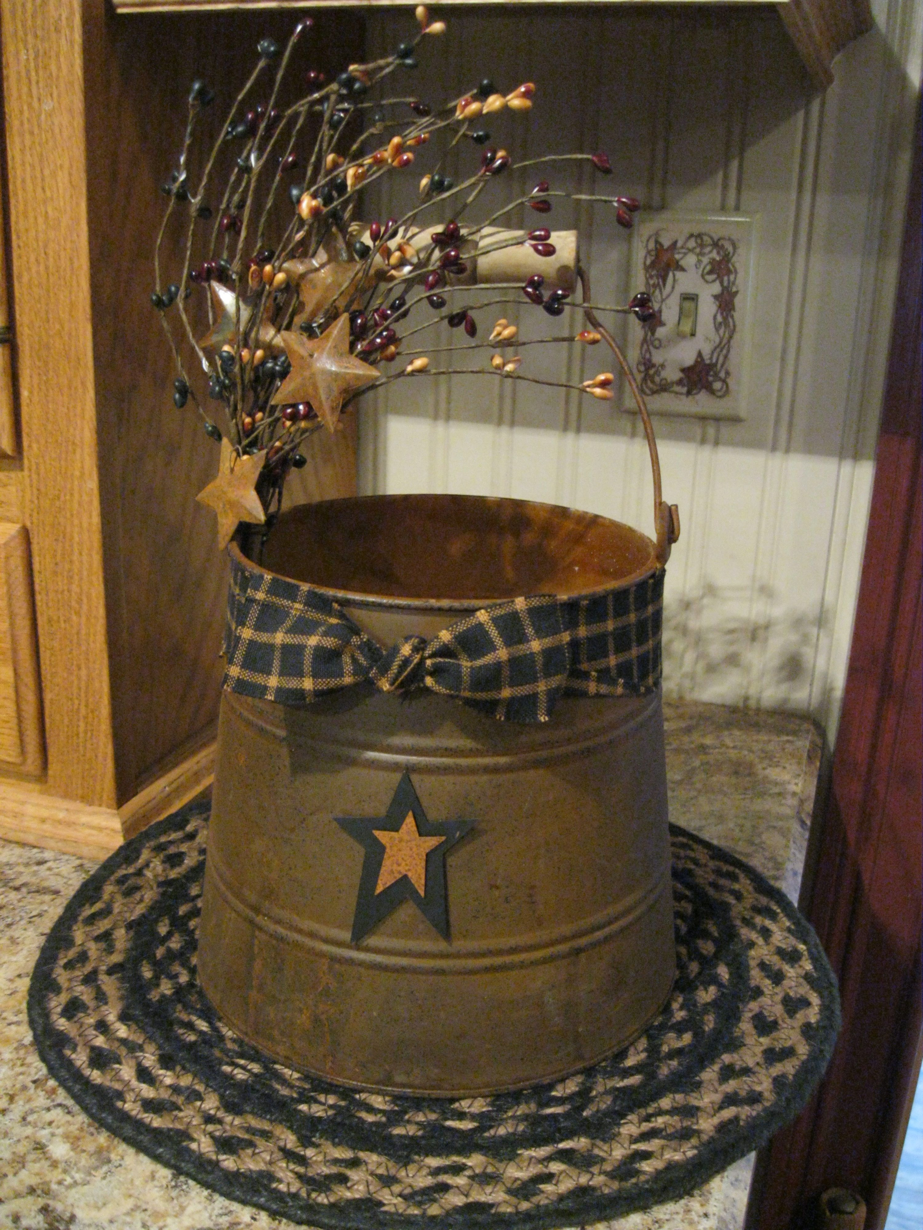 Primitive fall wood crafts - Old Wooden Cracker Bucket
