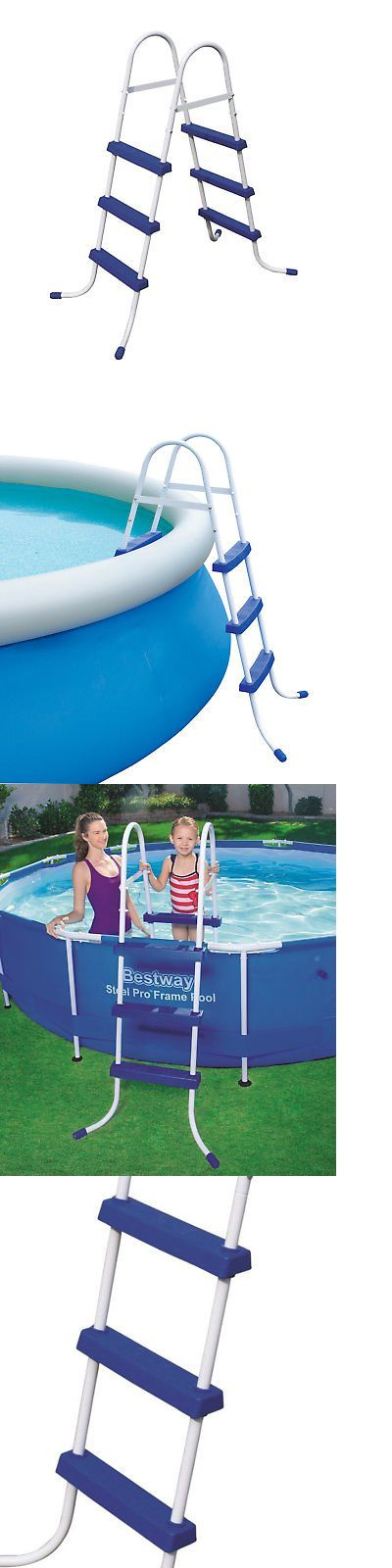 Pool Ladders And Steps 167847 Bestway 36 Inch Steel Above Ground Swimming Ladder No Slip 58334e It Now Only 81 99 On Ebay