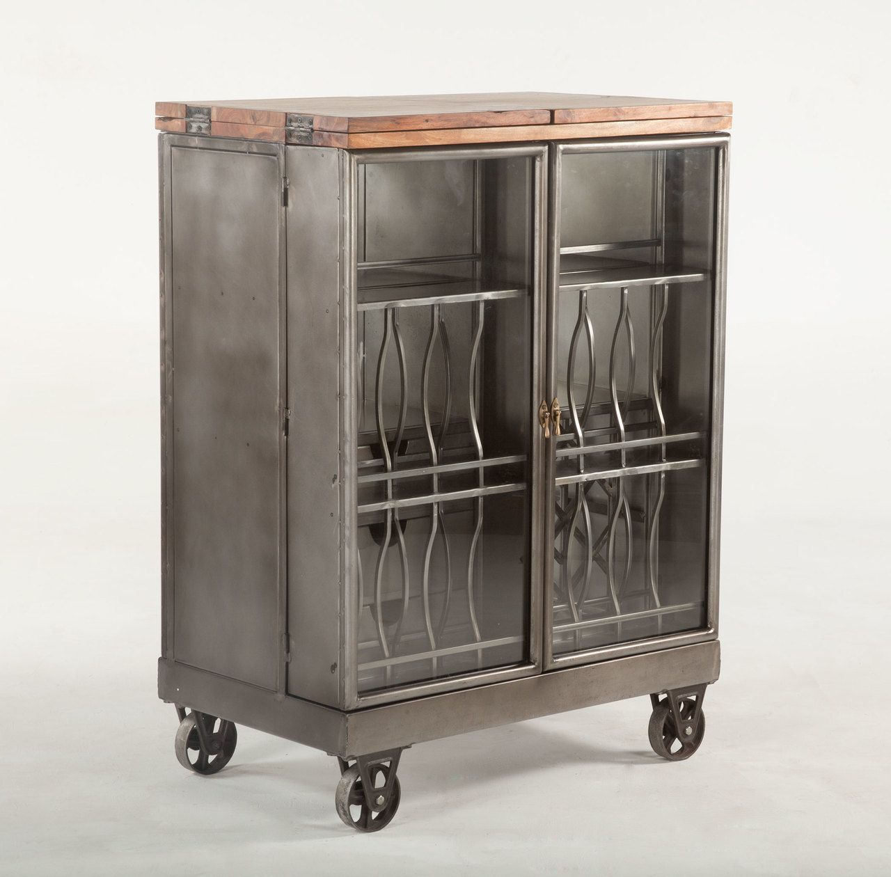 Steampunk Industrial Steel And Glass Bar Cart Cabinet In 2020 Bar Furniture Vintage Industrial Furniture Glass Bar Cart