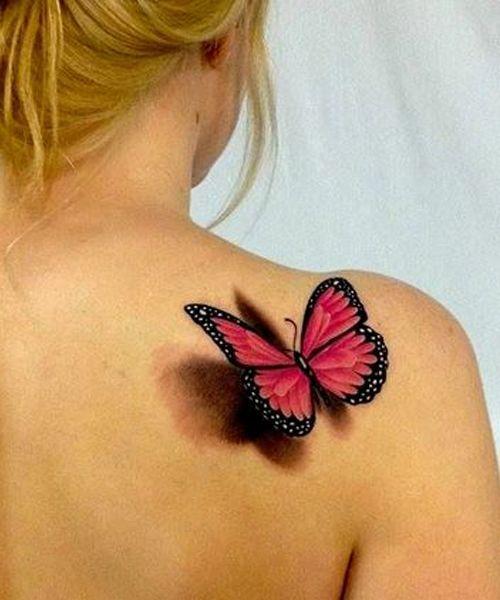 papillon 3d rose et noir epaule | tattoos | tattoos, tattoo designs