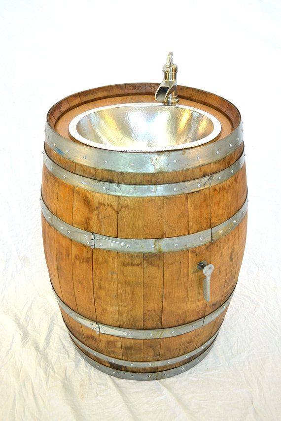 BARREL Lekara Wine Barrel Sink Bath Vanity W NICKEL Sink And - Wine barrel bathroom vanity