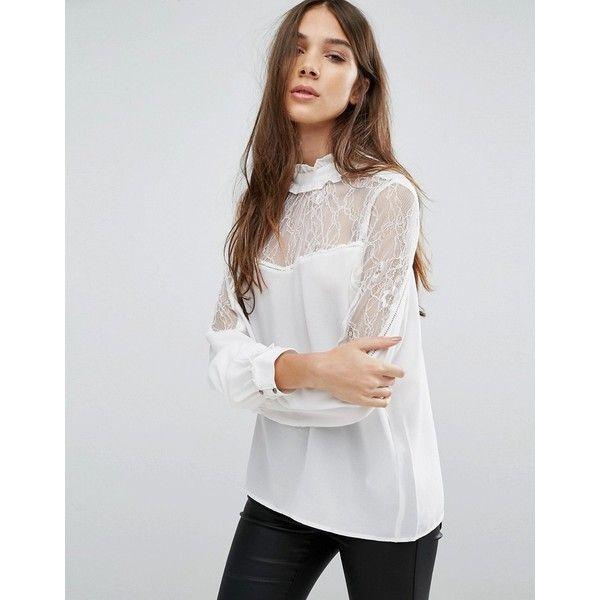 Vila Womens Sheer V Neck Top Ivory - Shirts & Tops