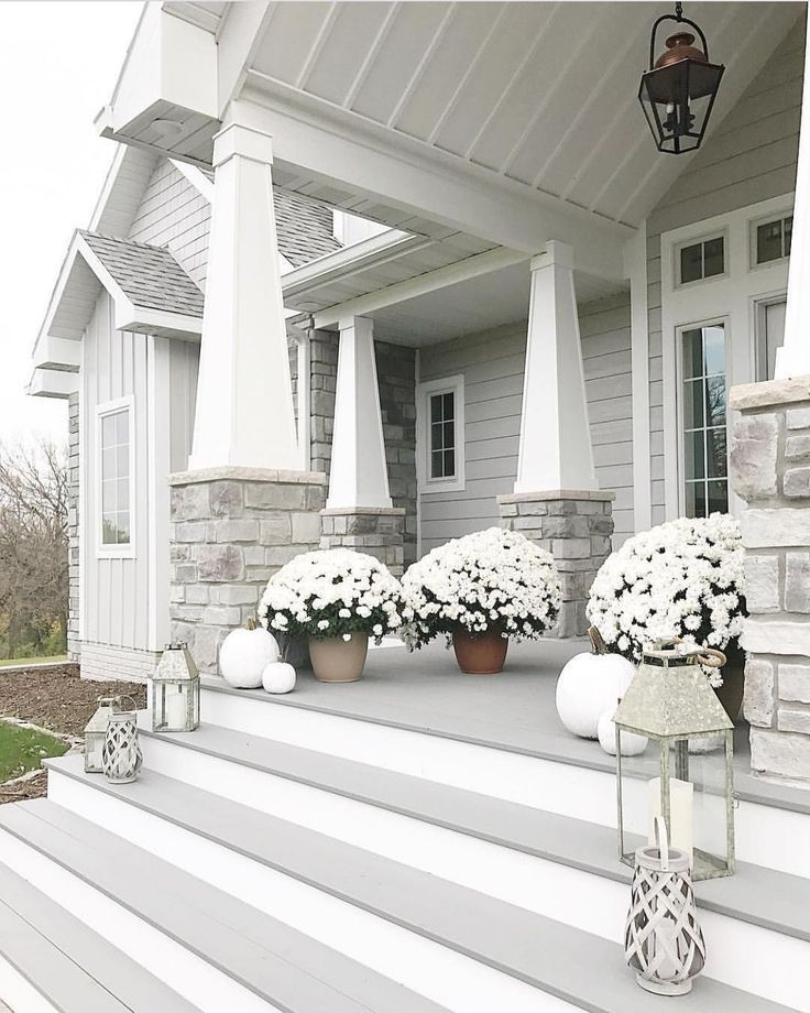 Gorgeous Front Patio And Curb Appeal With Gray Siding