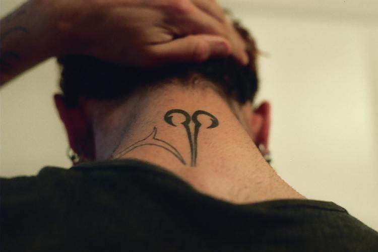 Back Neck Zodiac Aries Symbol Tattoo Aries Tattoo Tattoo Designs Constellation Tattoos