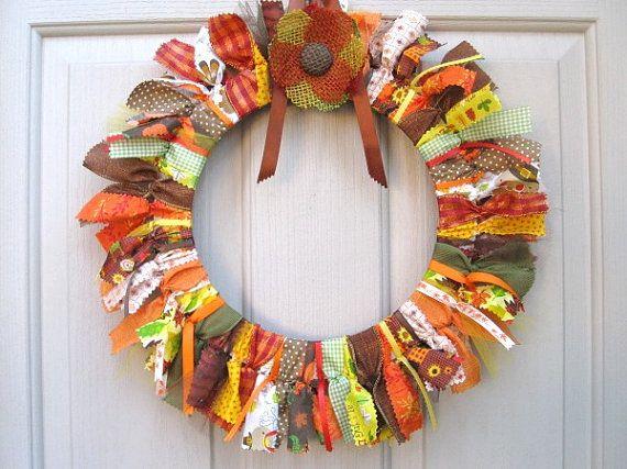 Fall Wreaths Ribbon Fabric Wreath Thanksgiving Decor