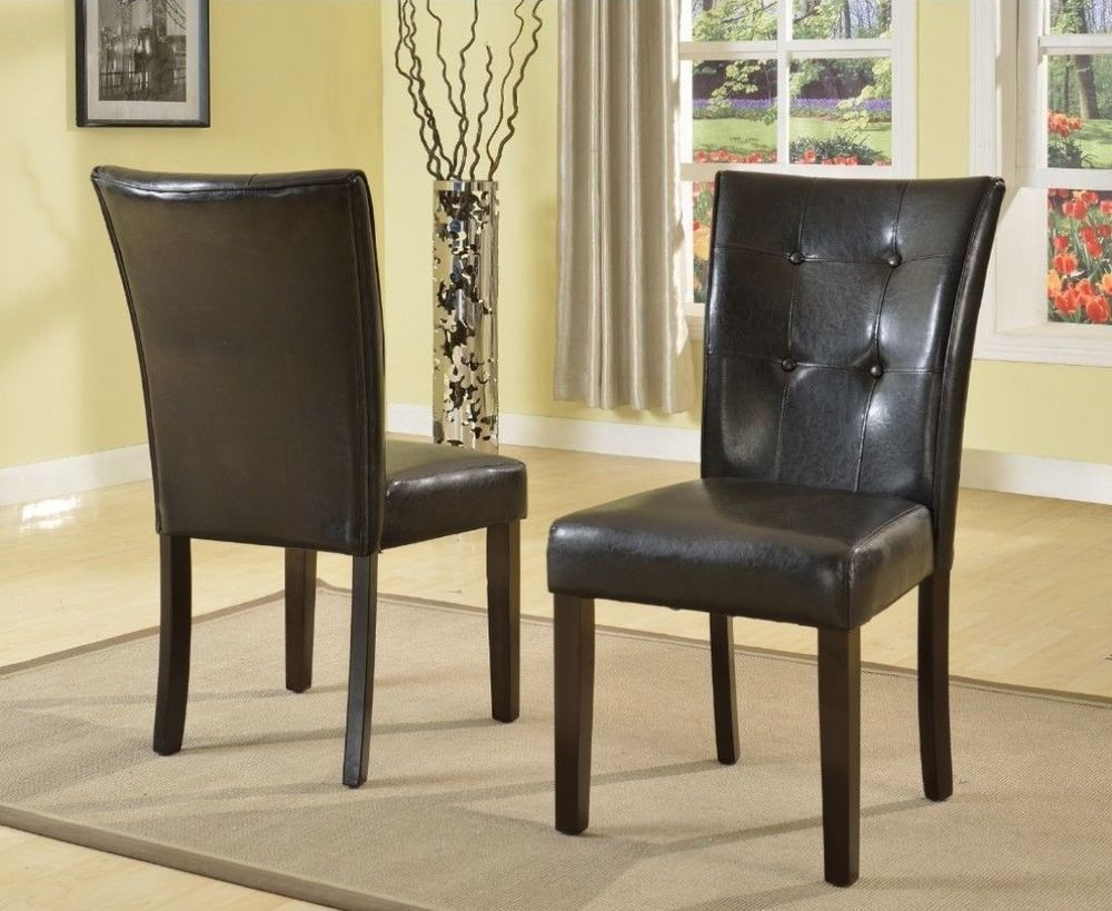Black faux leather dining chair with espresso legs set of