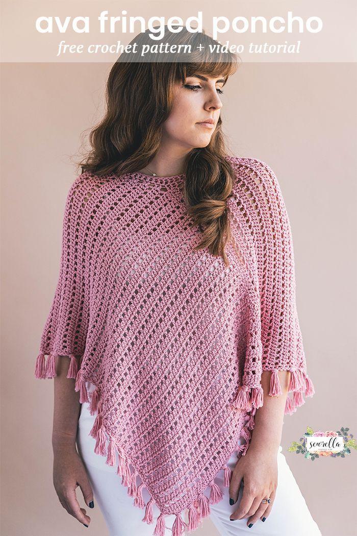Crochet Ava Fringed Poncho | crafts | Pinterest | Kleidung häkeln ...