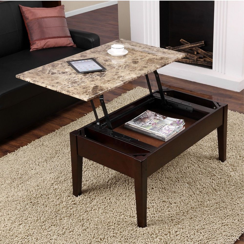 Lift Top Faux Marble Coffee Table Living Room Espresso Solid Wood