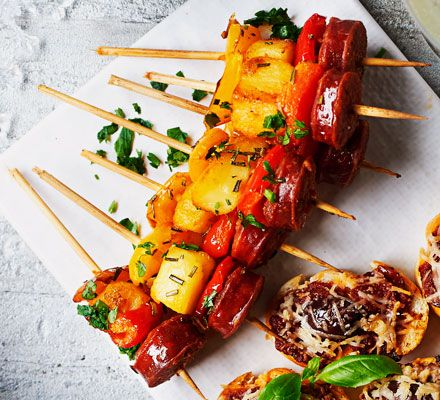 Spanish skewers recipe pinterest tapas red peppers and pepper bbc good food forumfinder Gallery