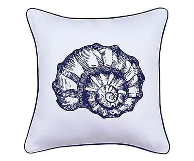 Federa per cuscino in tessuto Conchiglia bianco/blu, 45x45 cm