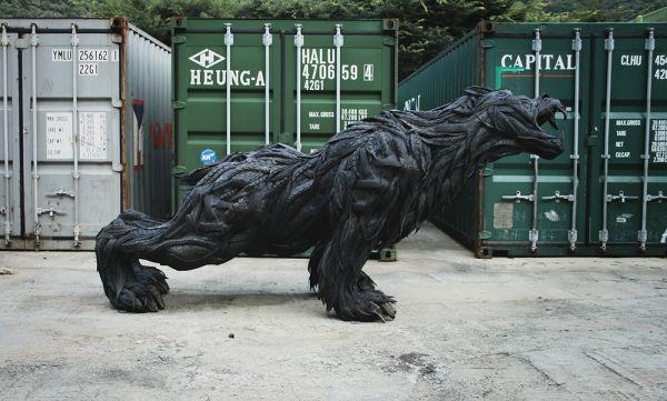 Arte reciclable, oso de neumático