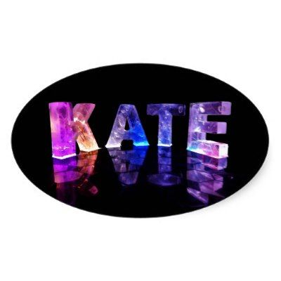 The name kate in 3d lights photograph oval sticker