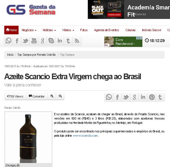 Azeite Scancio | Wine Senses | Site Gazeta da Semana | Janeiro de 2017.