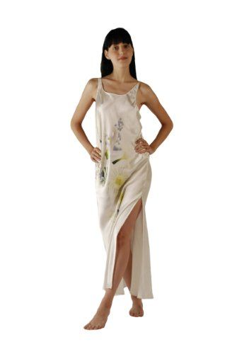 8a1963945d White Silk Long Nightgown for Women - Swans and Daffodils -