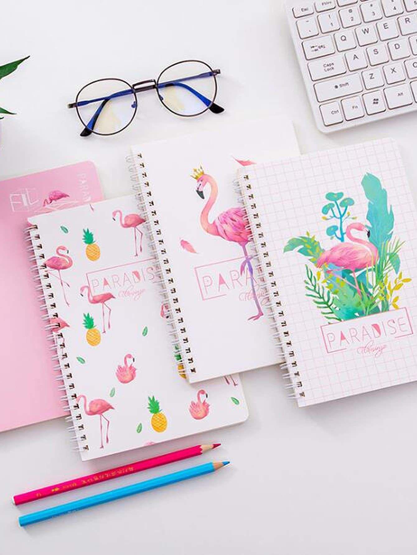 Random Flamingo Cover Spiral Notebook 1pc Cute Spiral Notebooks Diy Notebook Cover Spiral Notebook