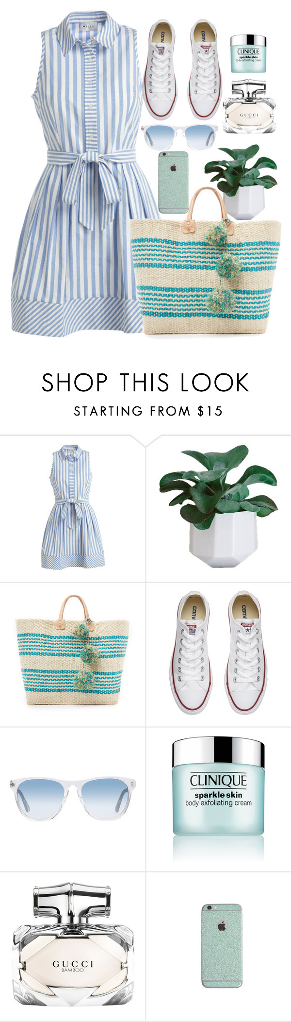 """""""Summer dress"""" by doradabrowska ❤ liked on Polyvore featuring Milly, Mar y Sol, Converse, Oliver Peoples, Clinique and Gucci"""