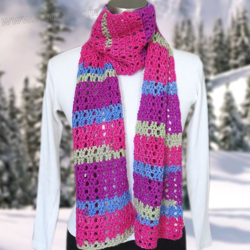 Free Crochet Pattern: Concetta Mesh Scarf (With Woven Ribbon Option ...
