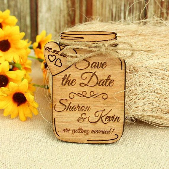 Free Shipping Mason Jar Save The Date Magnet Wedding Save The