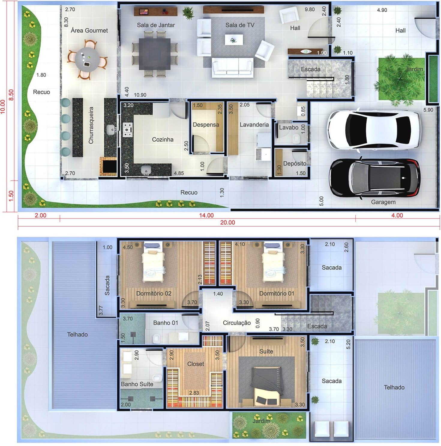 planta de sobrado moderno com 3 quartos. planta para terreno 10x20