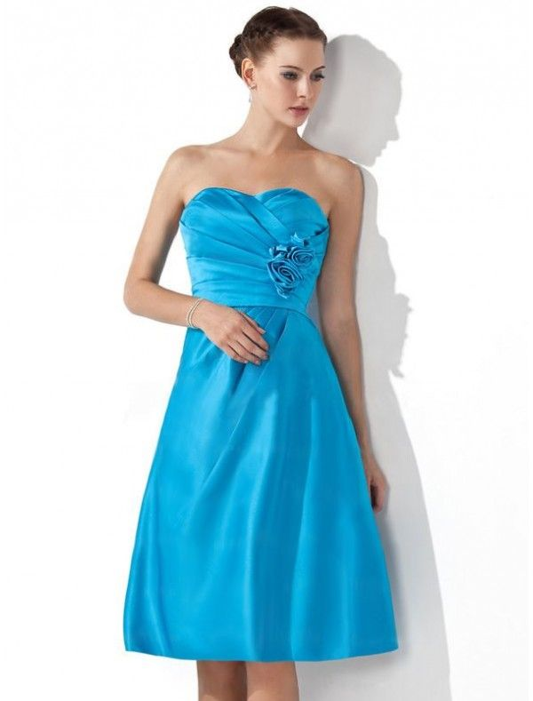 Satin Sweetheart Neckline A-Line Bridesmaid Dress with Floral Ruched Bodice