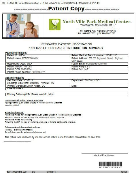 Patient Discharge Summary  Doctors Note For Work    Note