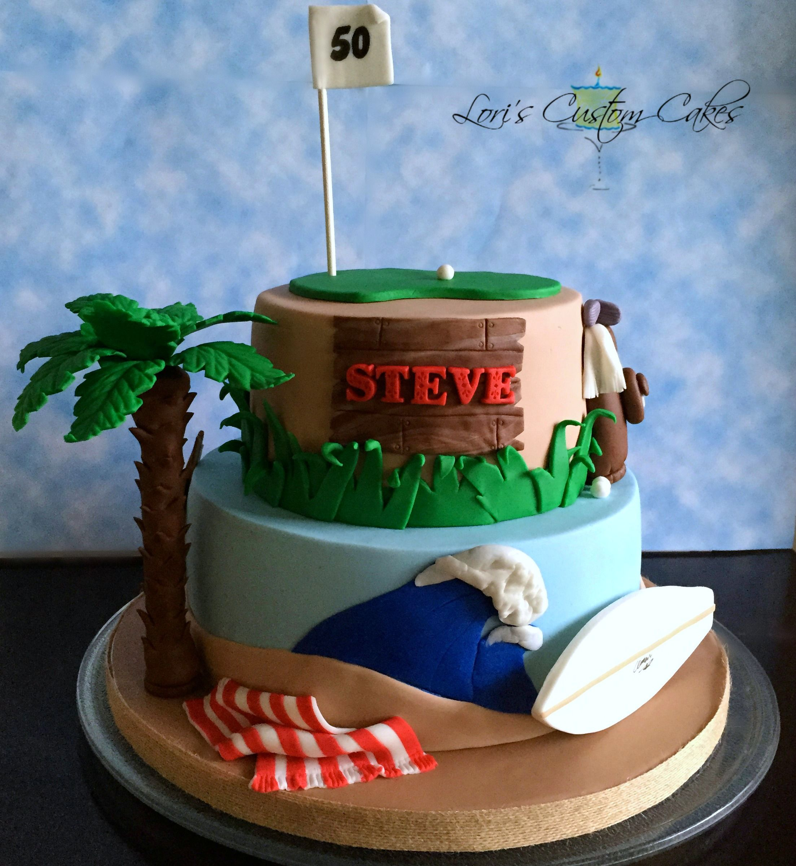 Oth Birthday Surf Golf Theme Cake Loris Custom Cakes - Birthday cake for a guy