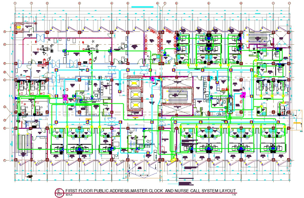 Public Address Master Clock And Nurse Call System Layout Autocad Dwg Files In 2020 Autocad Call System Nurse