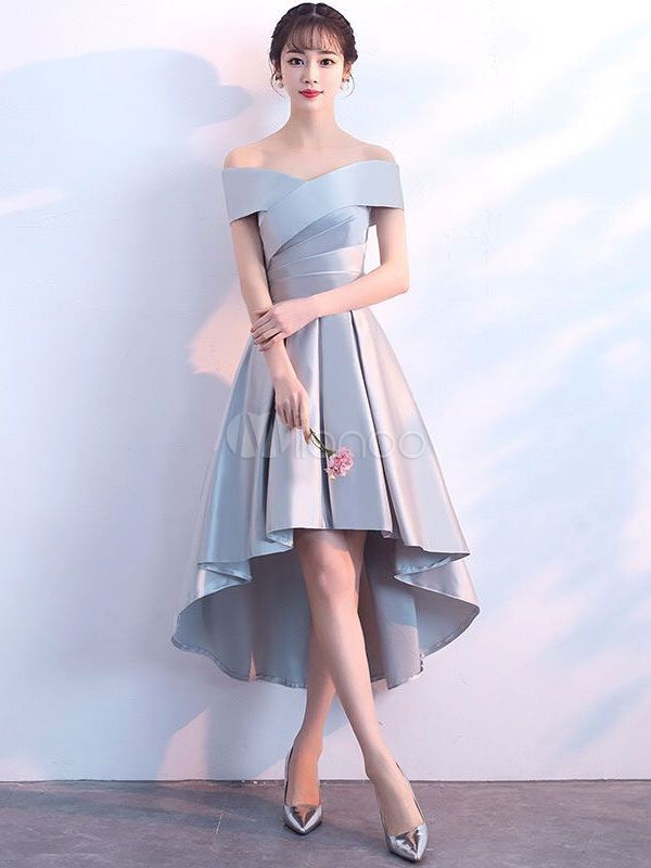 Cocktail Dresses Light Grey High Low Short Prom Dress Satin Asymmetrical Graduation Dress #cocktails