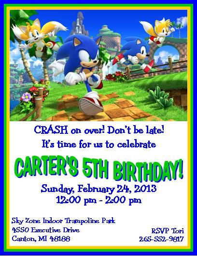 Sonic the hedgehog party invitations invitations pinterest sonic the hedgehog party invitations filmwisefo