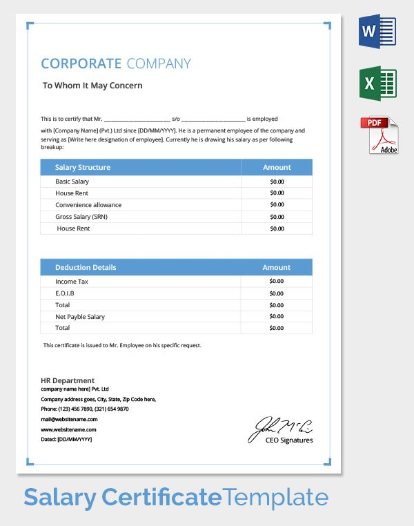 Salary_Certificate Temp hanin Pinterest Templates - free wage slip template