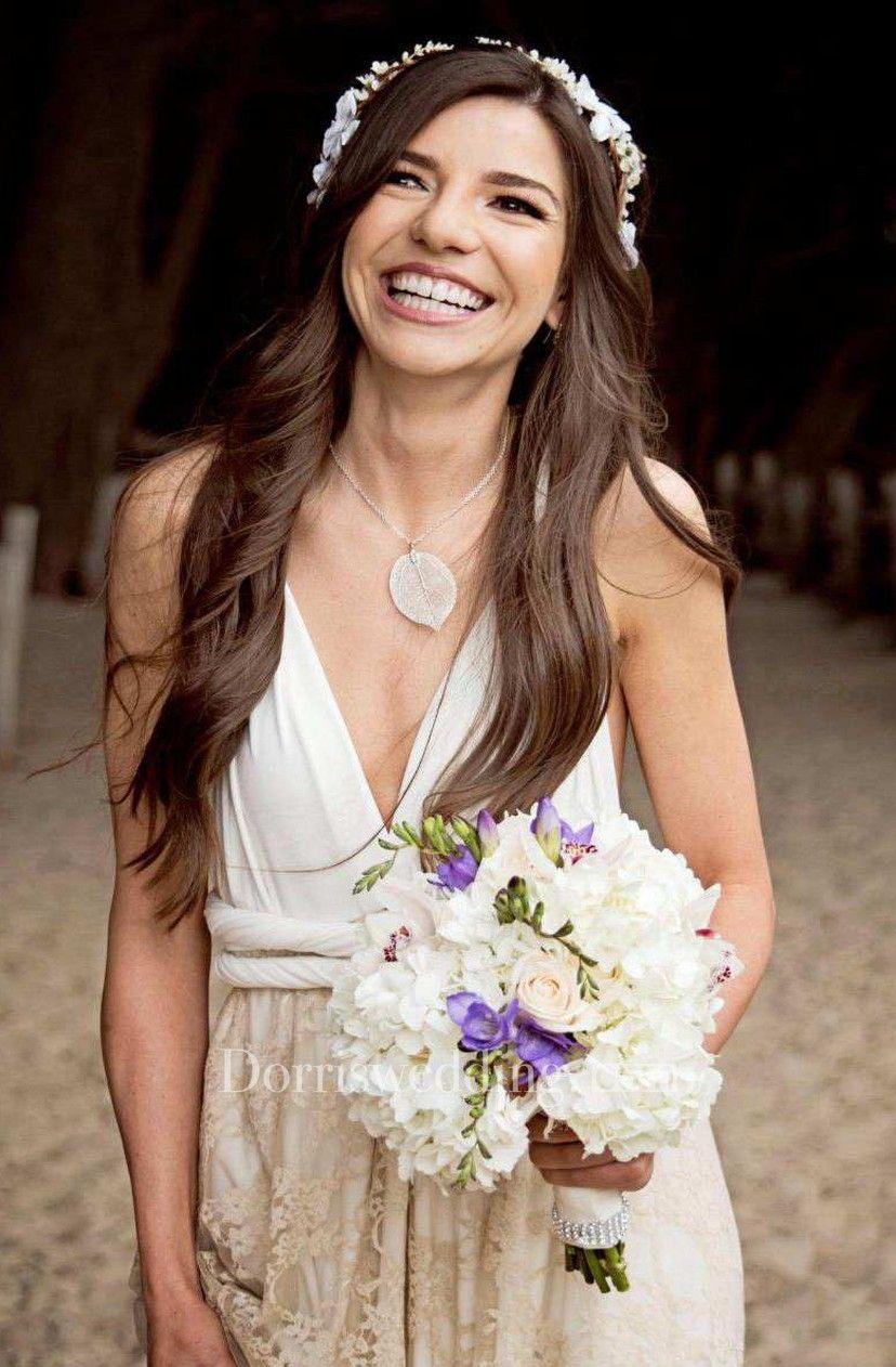 Floorlength jersey satin lace backless wedding dress wedding