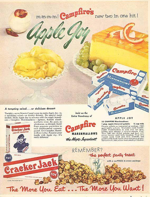 Campfire Marshmallow Apple Joy Cracker Jack ad 1956