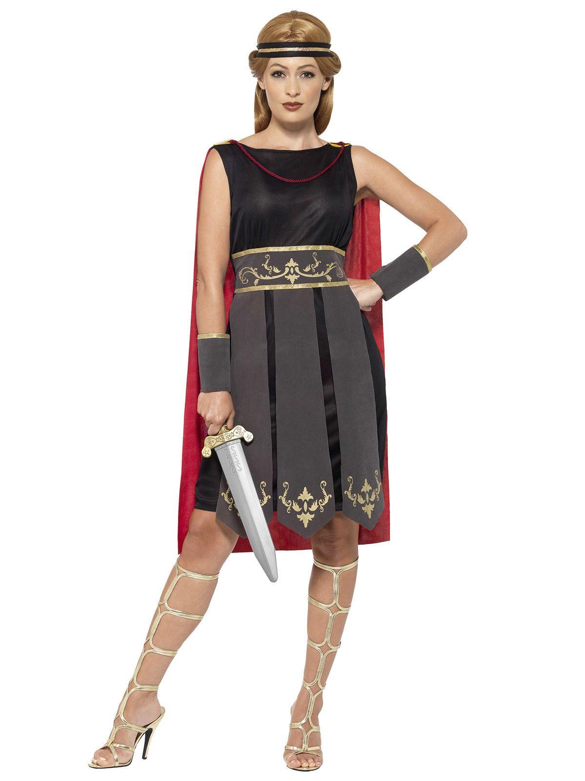 34e93f8ff068f Gladiatorin Damenkostüm Antike Kriegerin schwarz-rot | Queen ...