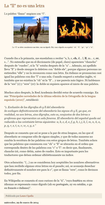 """... LAS PALABRAS ESTÁN FORMADAS POR LETRAS. La """"ll"""" no es una letra. http://lecturlandia.blogspot.com.es/p/glosario_26.html"""