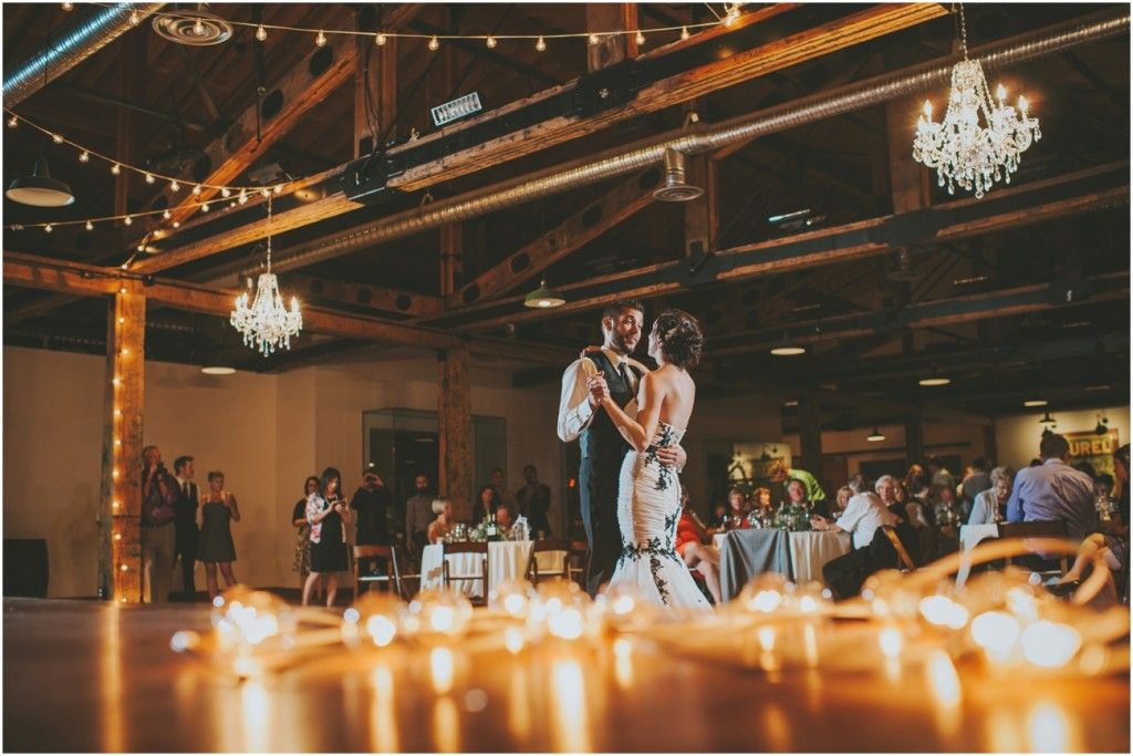 Vintage nautical first dance under the lights at the laurel packing house in Kelowna \\ Joelsview Photography