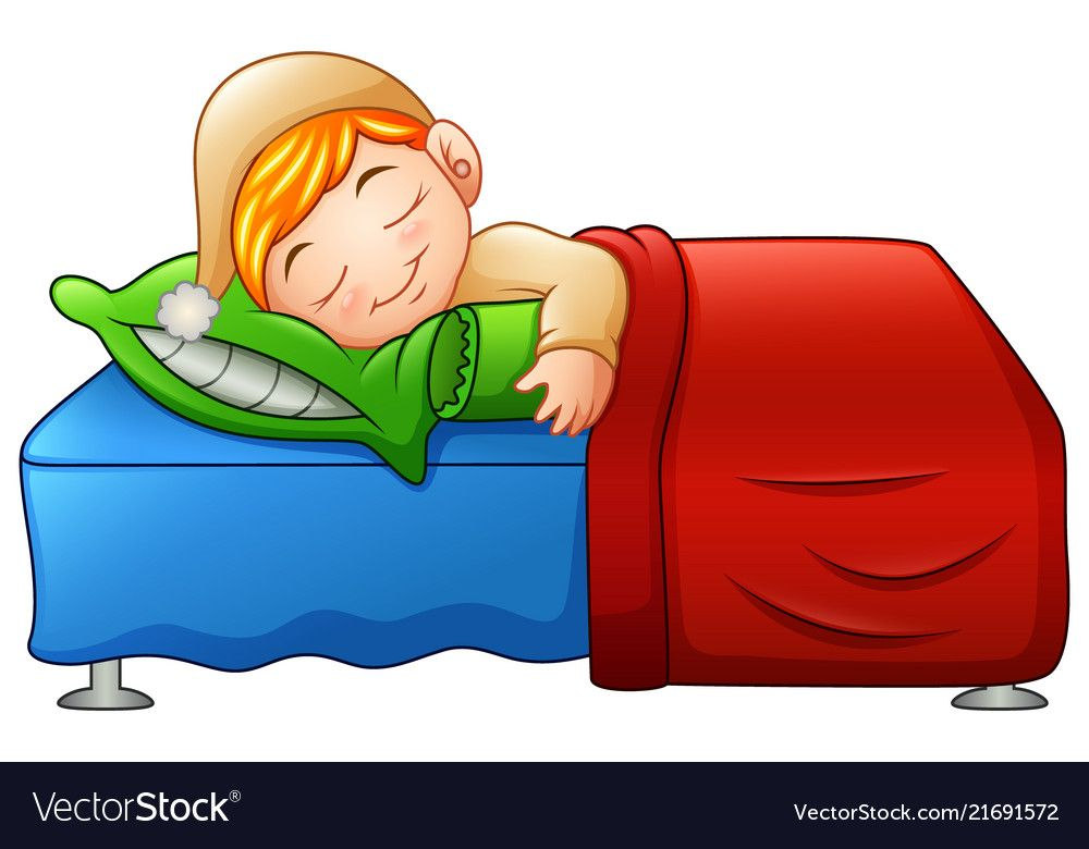 Cartoon cute little boy sleeping in bed vector image on