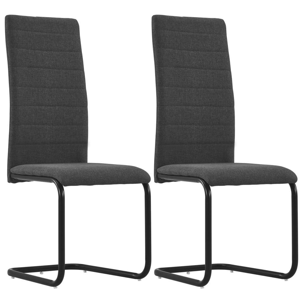 vidaXL Cantilever Dining Chairs 2 pcs Dark Grey Fabric
