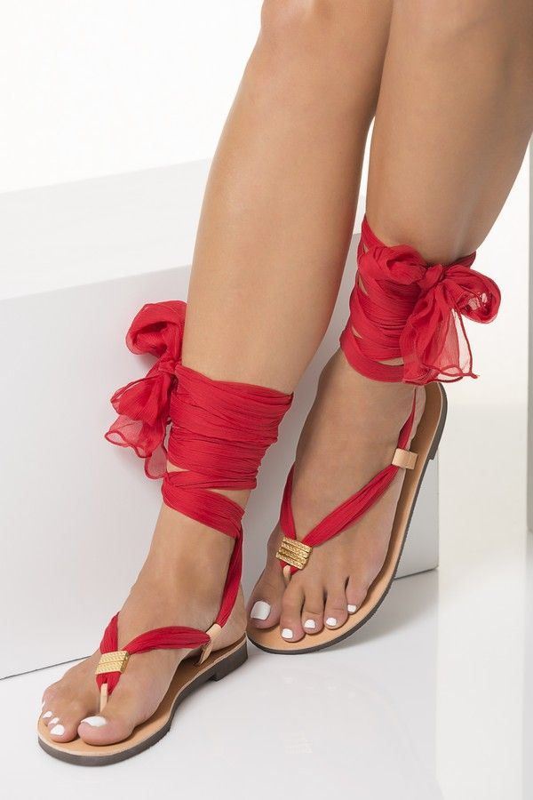 26d38e7764122 Red Thong Sandals With Silk Scarf Laces, Customizable Sophia | The ...