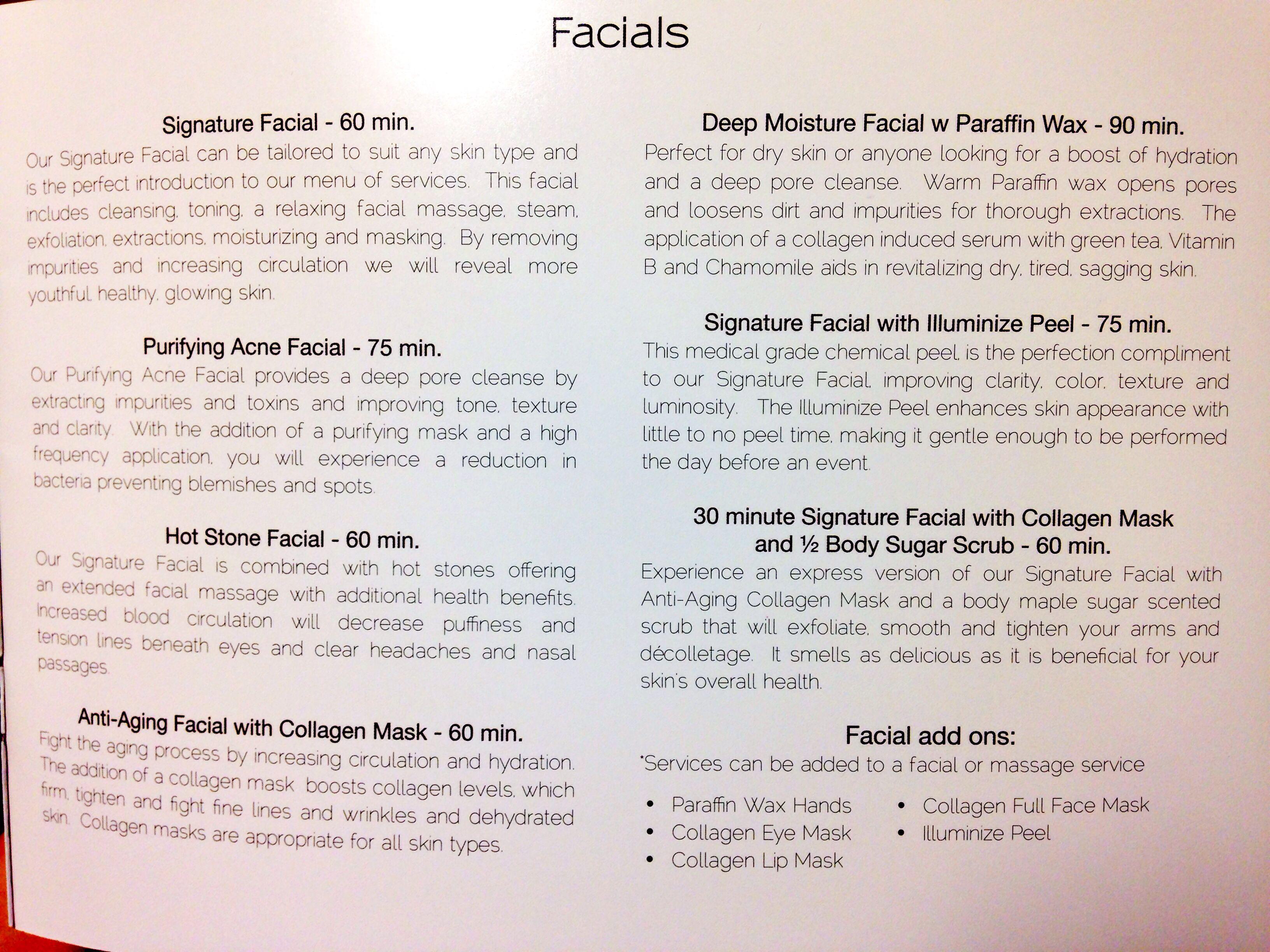 Facials offered at the Spa at Mecca  Facials  Pinterest