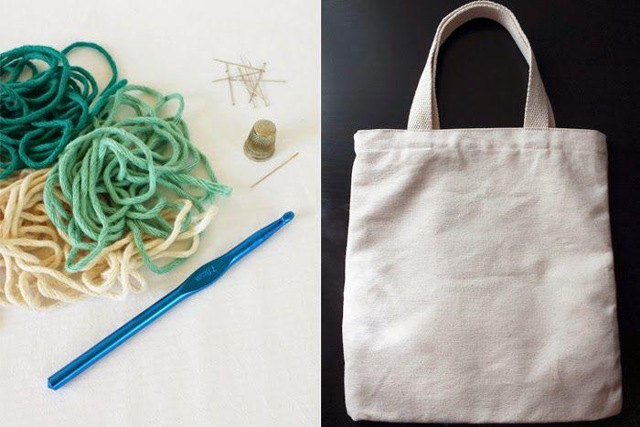 Tunear bolsa de algodon con punto abanico de crochet | BOLSOS DE ...