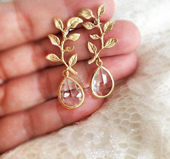 Gold Leaf Earrings Bridal Earrings Modern Wedding Jewelry Gold Crystal Dangling Earrings Bri Bridesmaid Earrings Set Bridesmaid Jewelry Bridesmaid Earrings