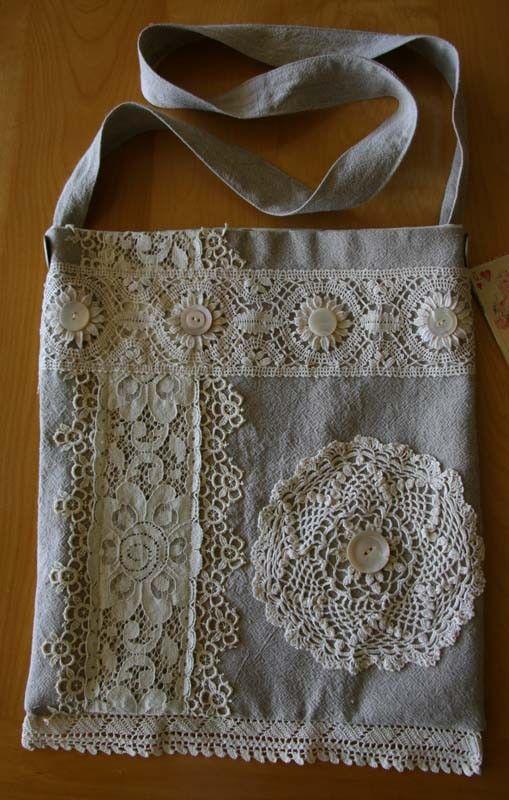 Fab OOAK Handmade Linen Shoulder Bag with Vintage Lace Trim ...