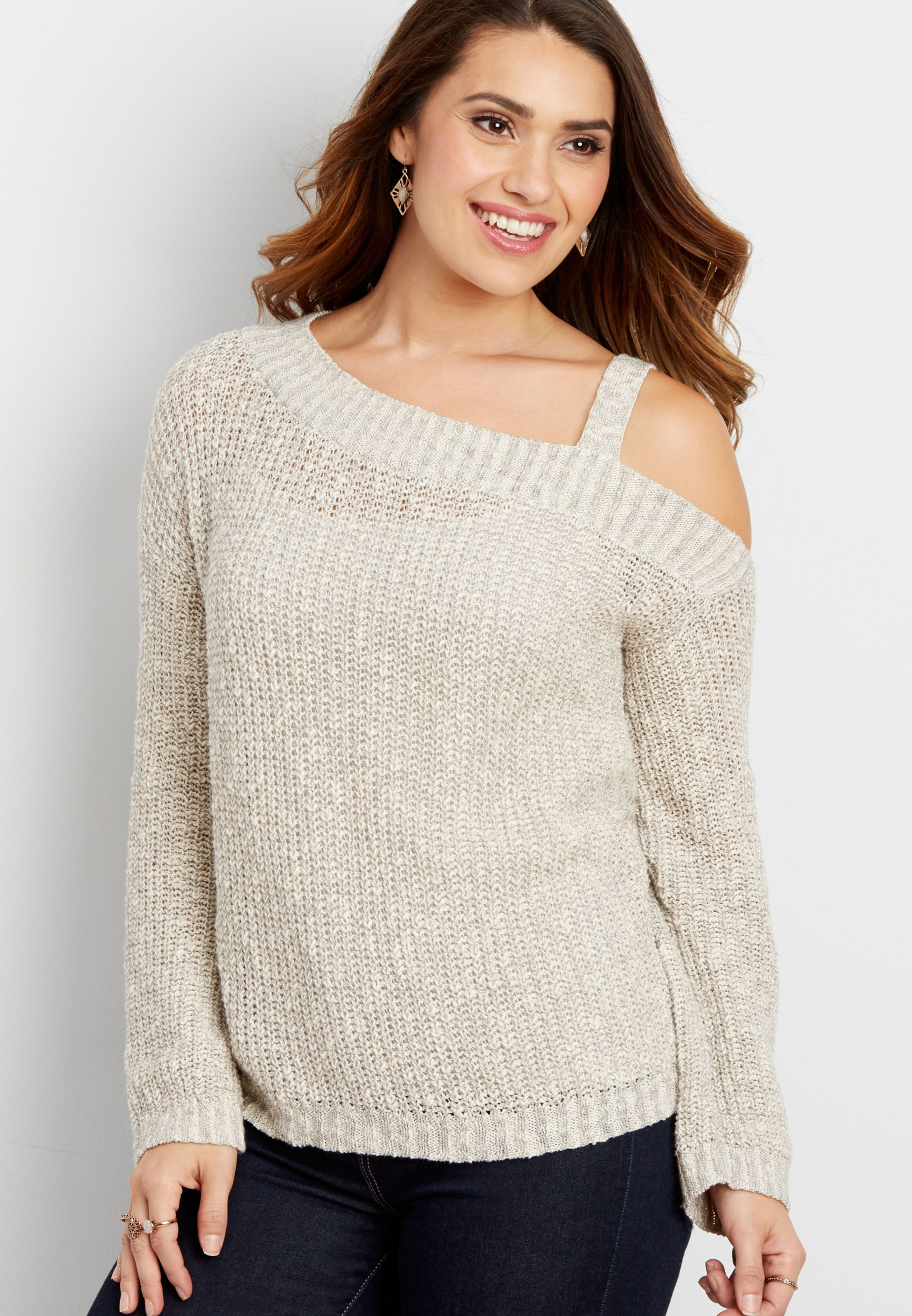 9262c57bf1c47 pullover sweater with single cold shoulder (original price