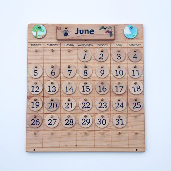 Wooden Perpetual Calendar Weather Chart Waldorf Back To School