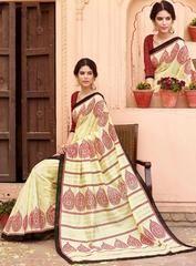 Cream Minakari Silk Saree - https://www.ethanica.com/products/cream-minakari-silk-saree