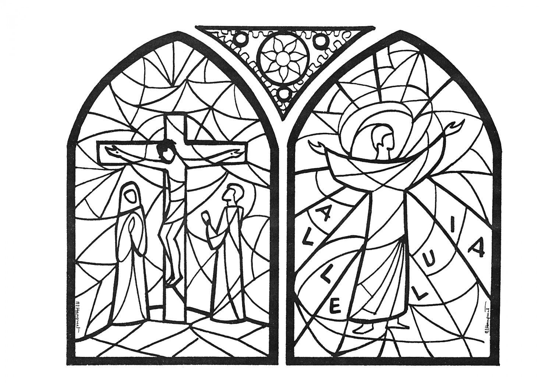 Activit s semaine sainte vitraux colorier veil la foi cath des enfants pinterest - Vitraux a colorier ...