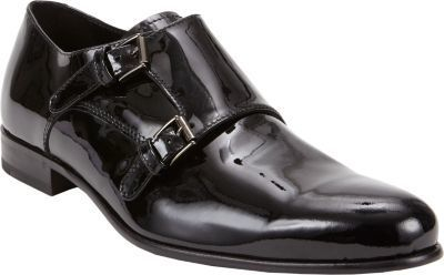 $450, Black Leather Double Monks: Barneys New York Patent Double Monk Shoes Black. Sold by Barneys New York. Click for more info: https://lookastic.com/men/shop_items/153223/redirect