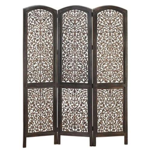 3 Panel Hand Carved Solid Wood Screen Room Divider Leaf Design Brown And Black Ebay Room Divider